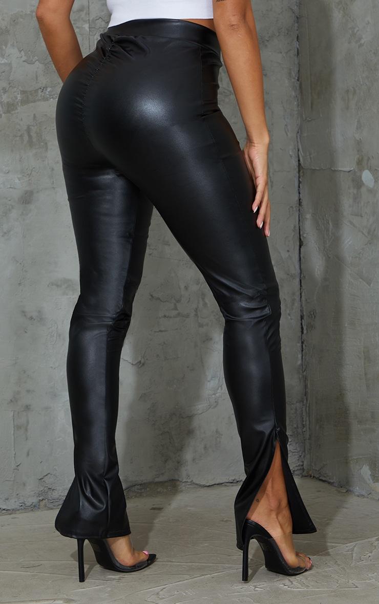 Shape Black PU V Front Ruched Bum Split Hem Pants 3