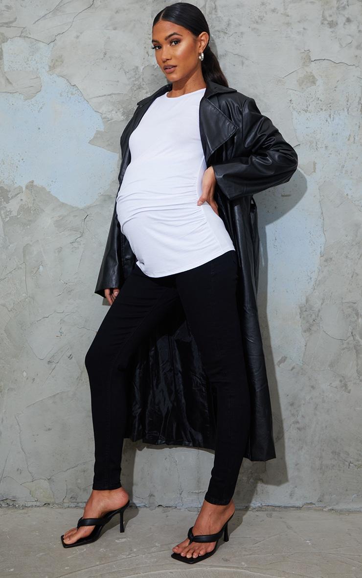 Maternity True Black Pull On Skinny Jeans 1