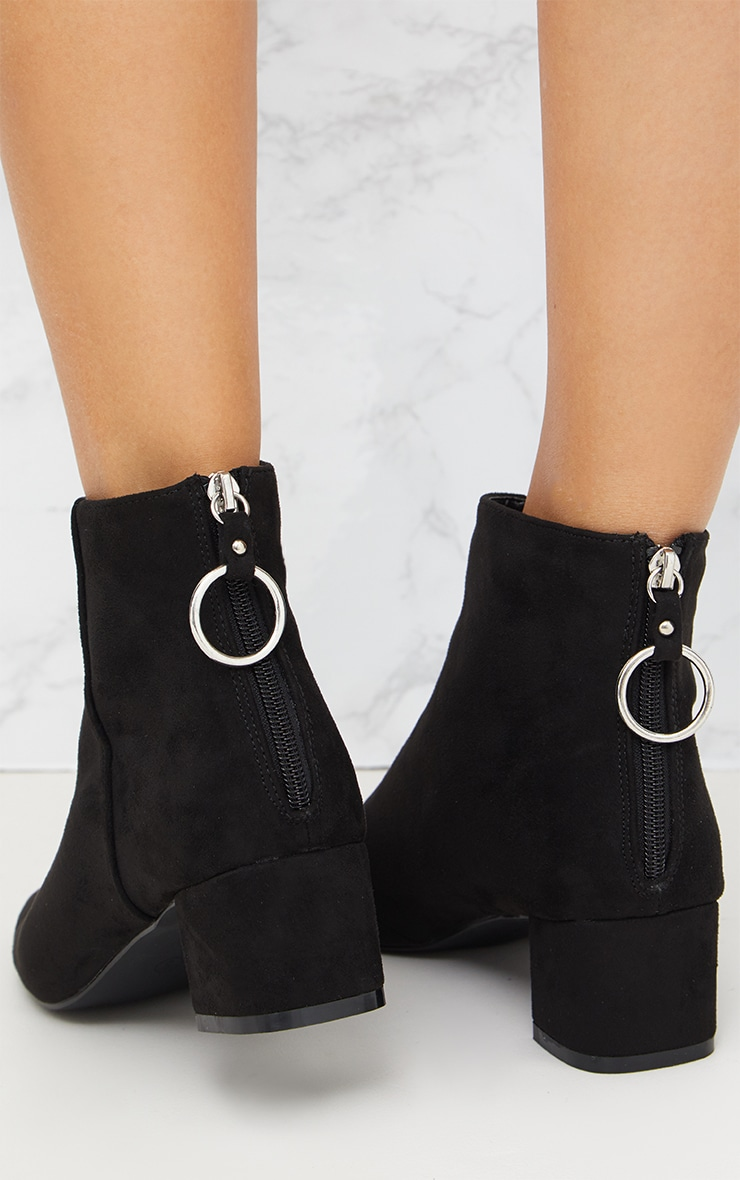 Black Faux Suede Ring Zip Ankle Boots 5