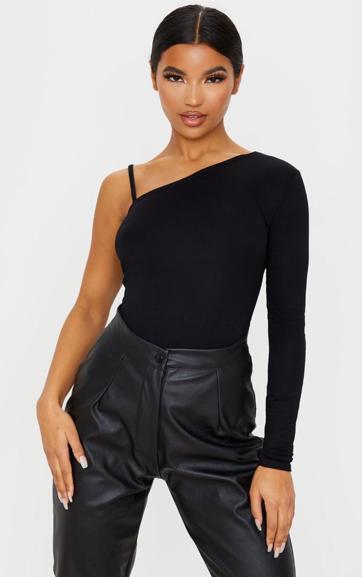 Black Basic Jersey One Shoulder Strap Top 1