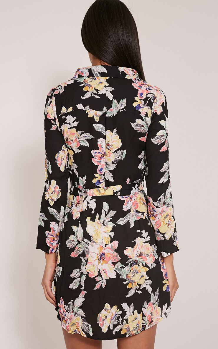 Halina Black Floral Shirt Dress 2