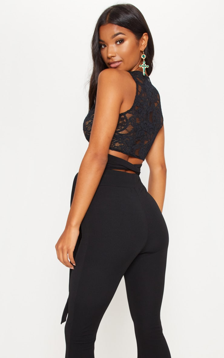 Black Wrap Lace Crop Top 2