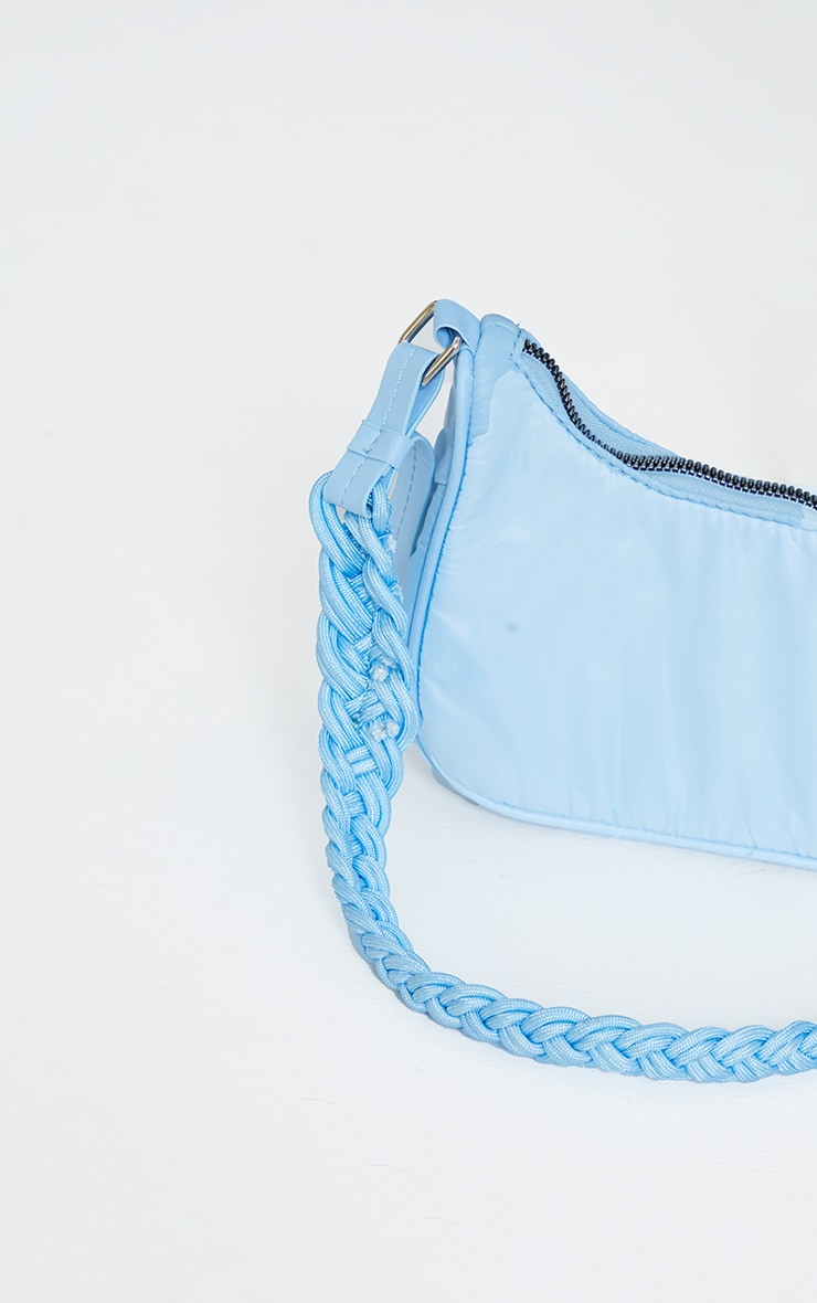 Baby Blue Weave Handle Shoulder Bag 4