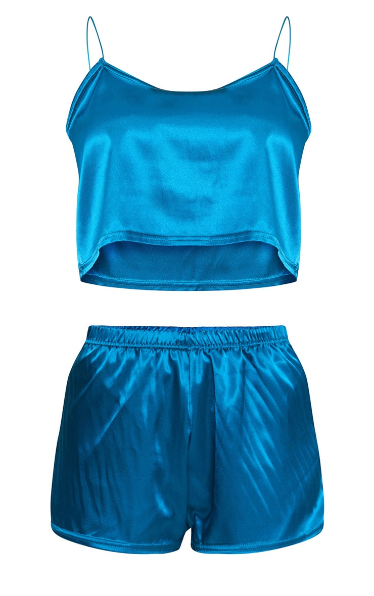 Teal Satin Pyjama Shorts Set 3