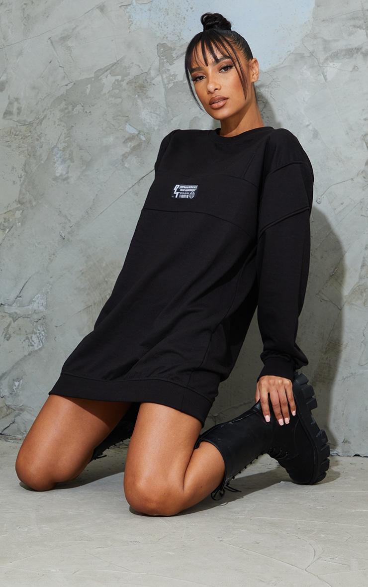 PRETTYLITTLETHING Badge Black Oversized Sweat Jumper Dress 3