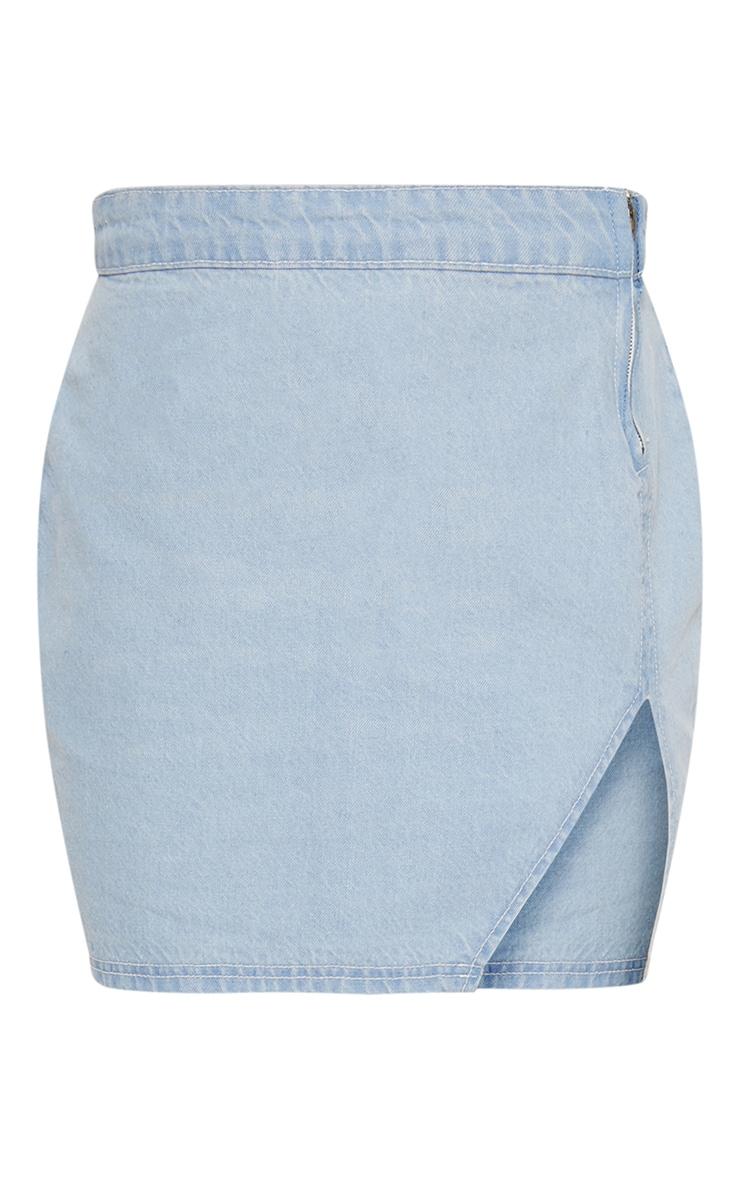 Light Wash Extreme Split Denim Mini Skirt 4