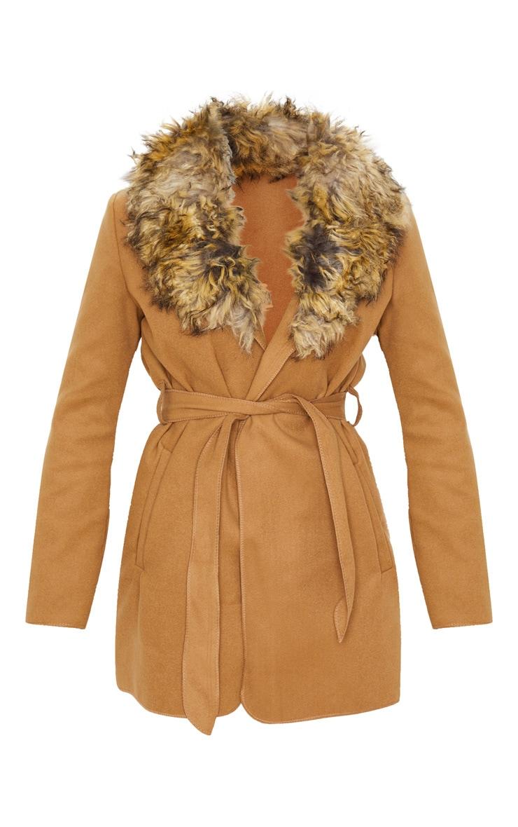 Lydia Camel Faux Fur Trimmed Belted Coat 3