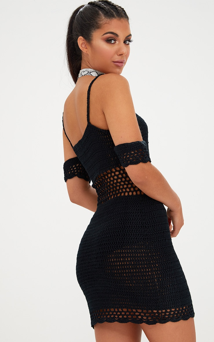 Black Crochet Bardot Dress 2