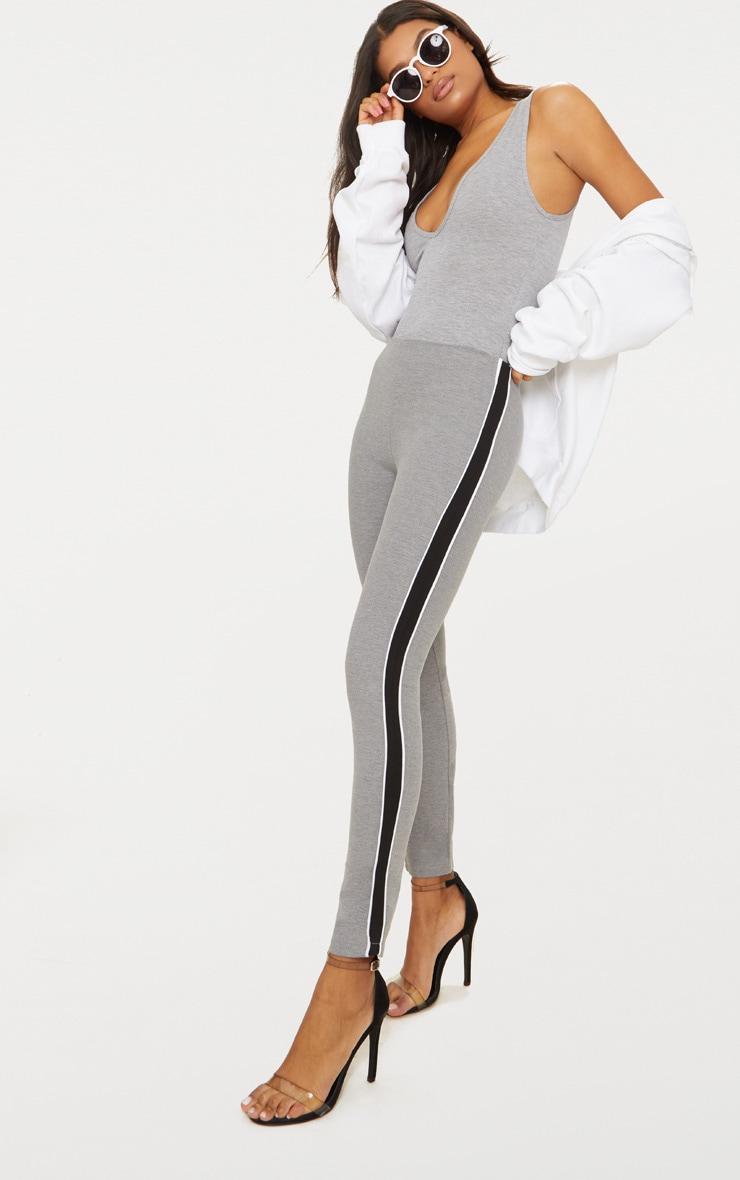 Grey Side Stripe Stretch Leggings 1