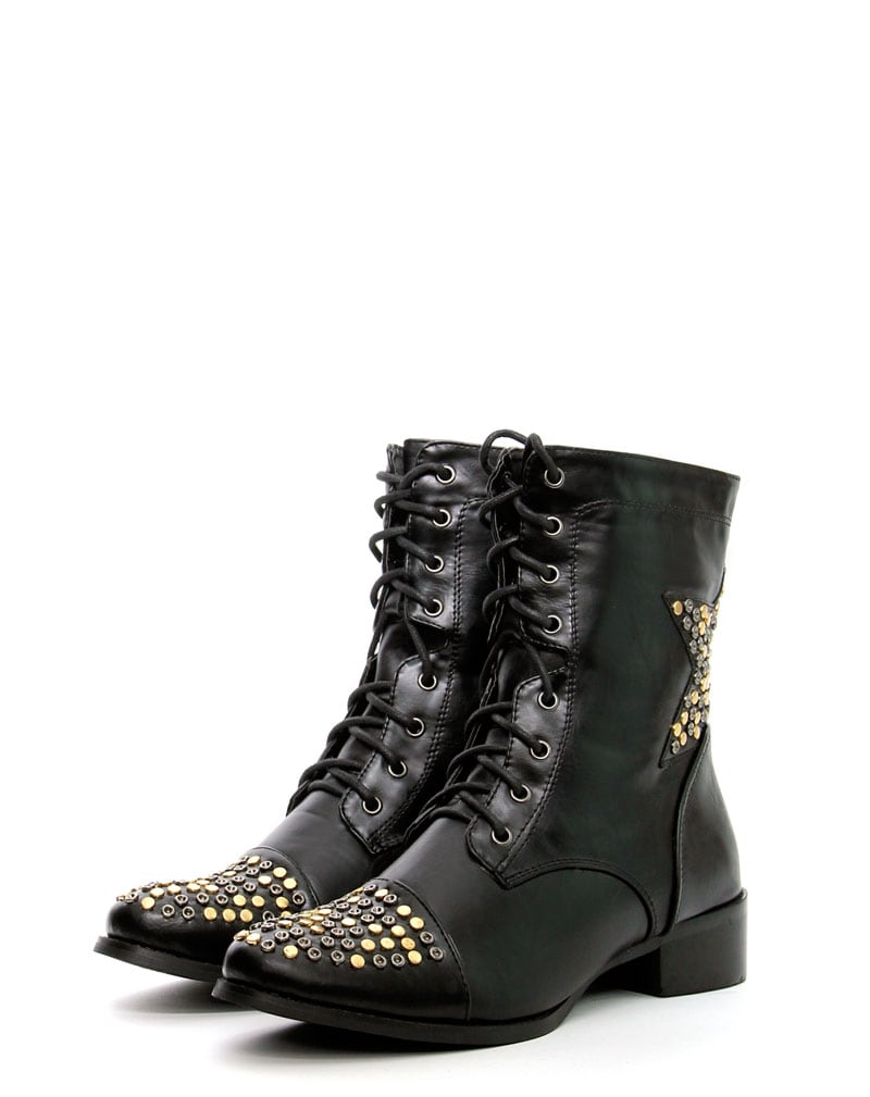 Roxanna Star Stud Black Lace Up Boots 2