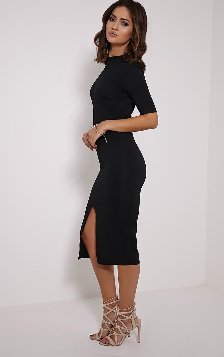 Sana Black Crepe Split Front Midi Dress 4