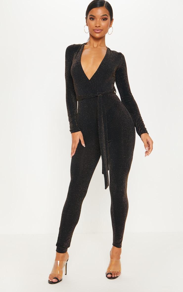 Black Textured Glitter Tie Waist Jumpsuit 1