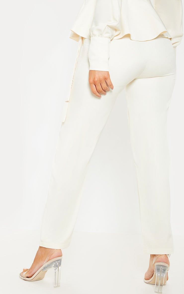 Cream High Waisted Cigarette Pants 4