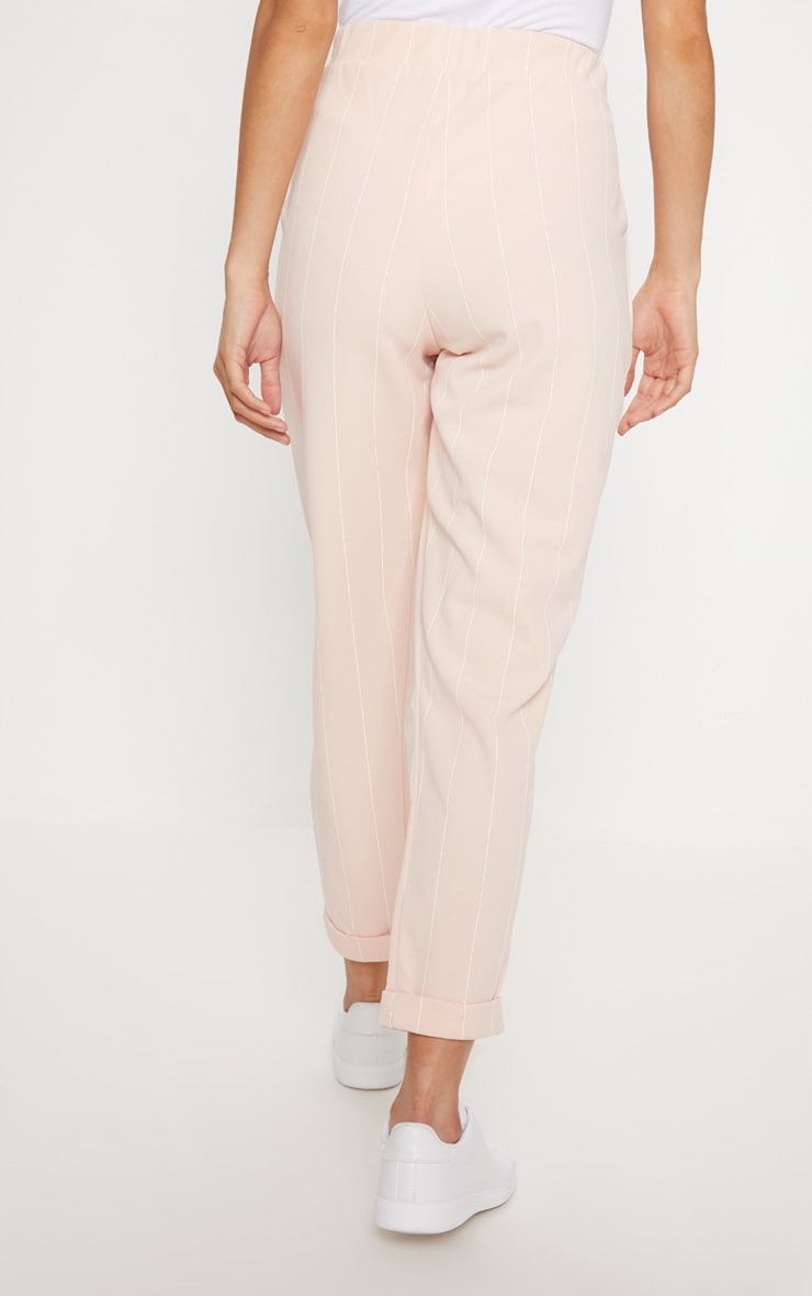 Nude Pinstripe Casual Trousers 4