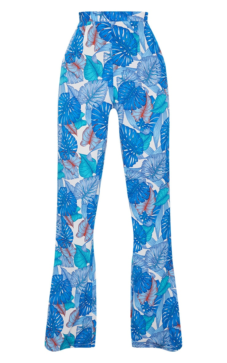 Blue Palm Print Beach Flares 3