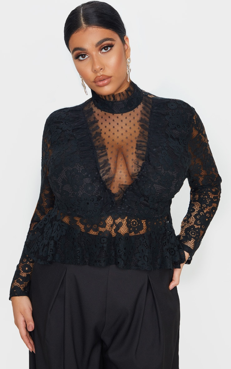 Plus Black Laced High Neck Blouse 1