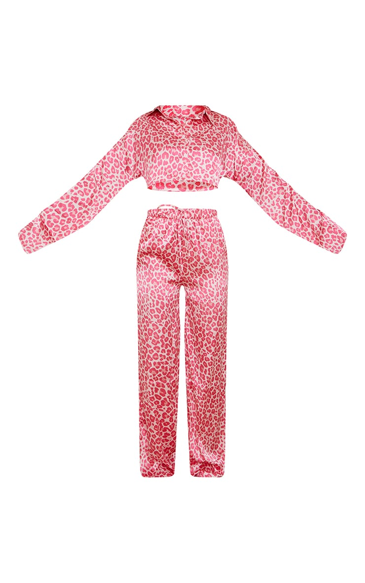 Pink Leopard Print Satin Cropped Shirt And Wide Leg Trousers PJ Set 5