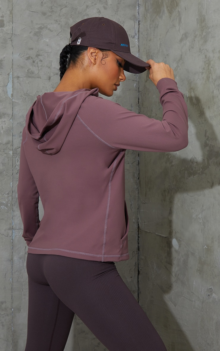 Brown Zip Through Hooded Gym Top 2