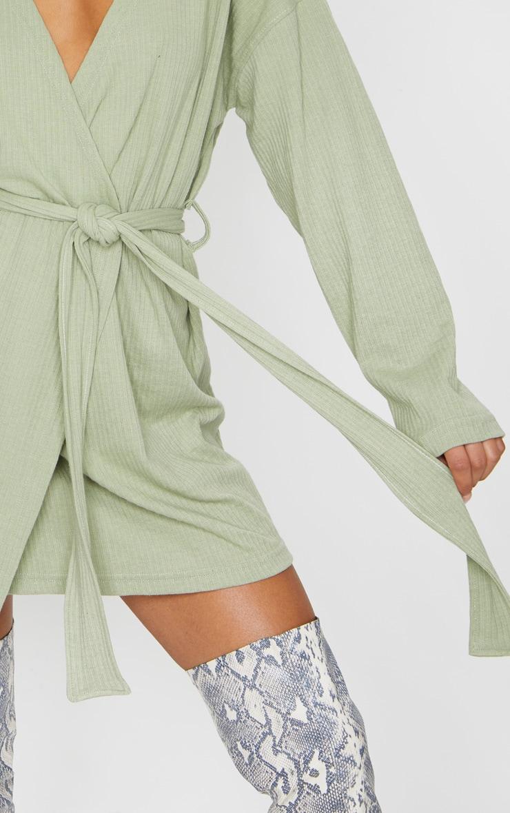 Sage Green Heavy Rib Long Sleeve Wrap Front Shift Dress 4