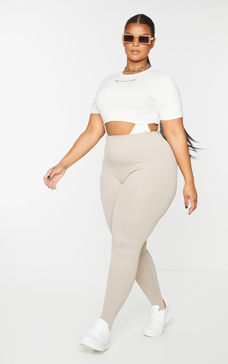 PRETTYLITTLETHING Plus Cream Contrast Fabric Cut Out Bodysuit 3