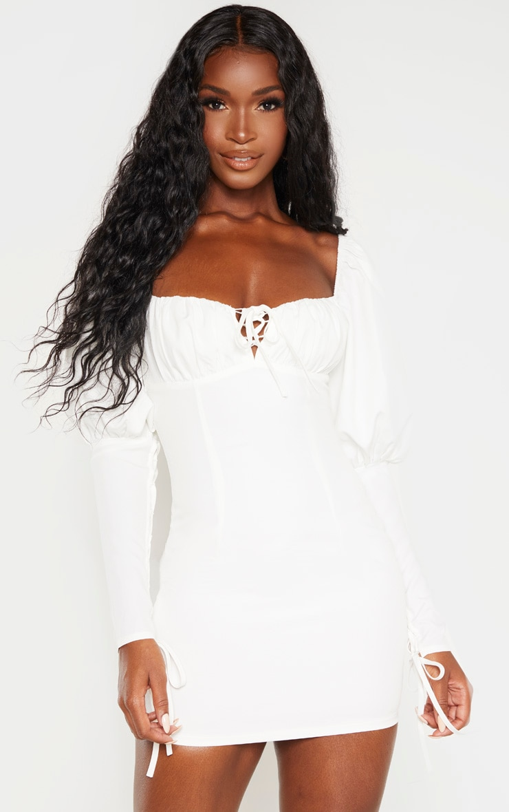 White Puff Sleeve Lace Up Bodycon Dress 1