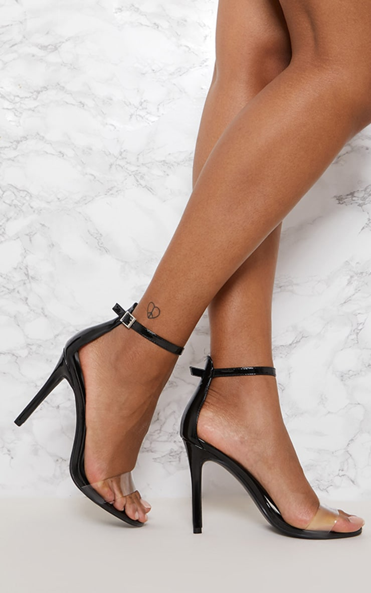 Black Patent Clear Strap High Heel