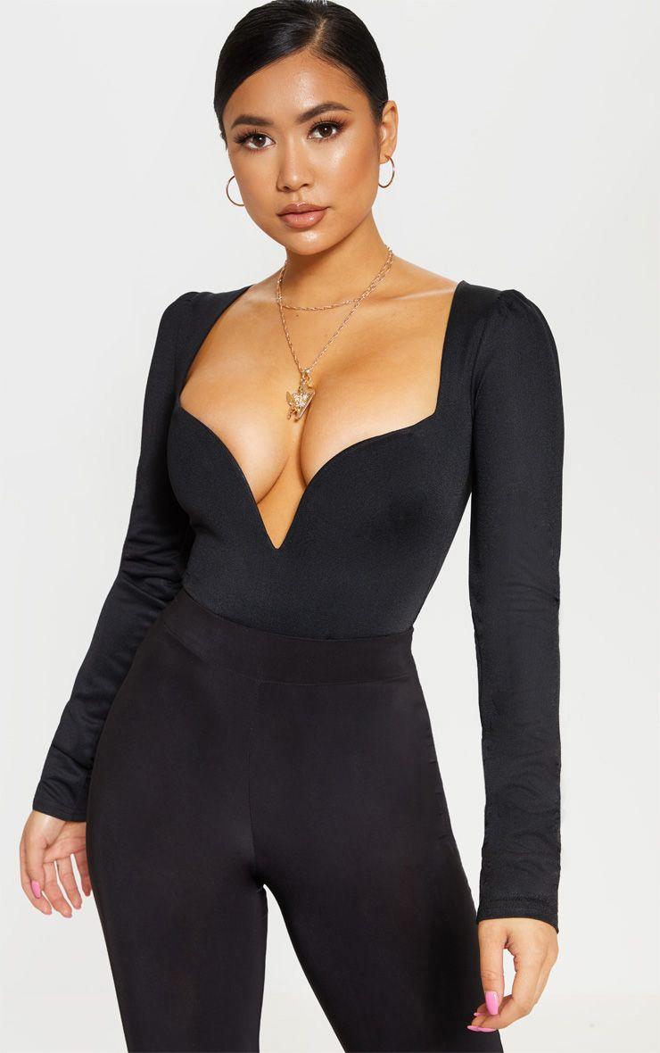 Petite Black Long Sleeve Plunge Bodysuit 1