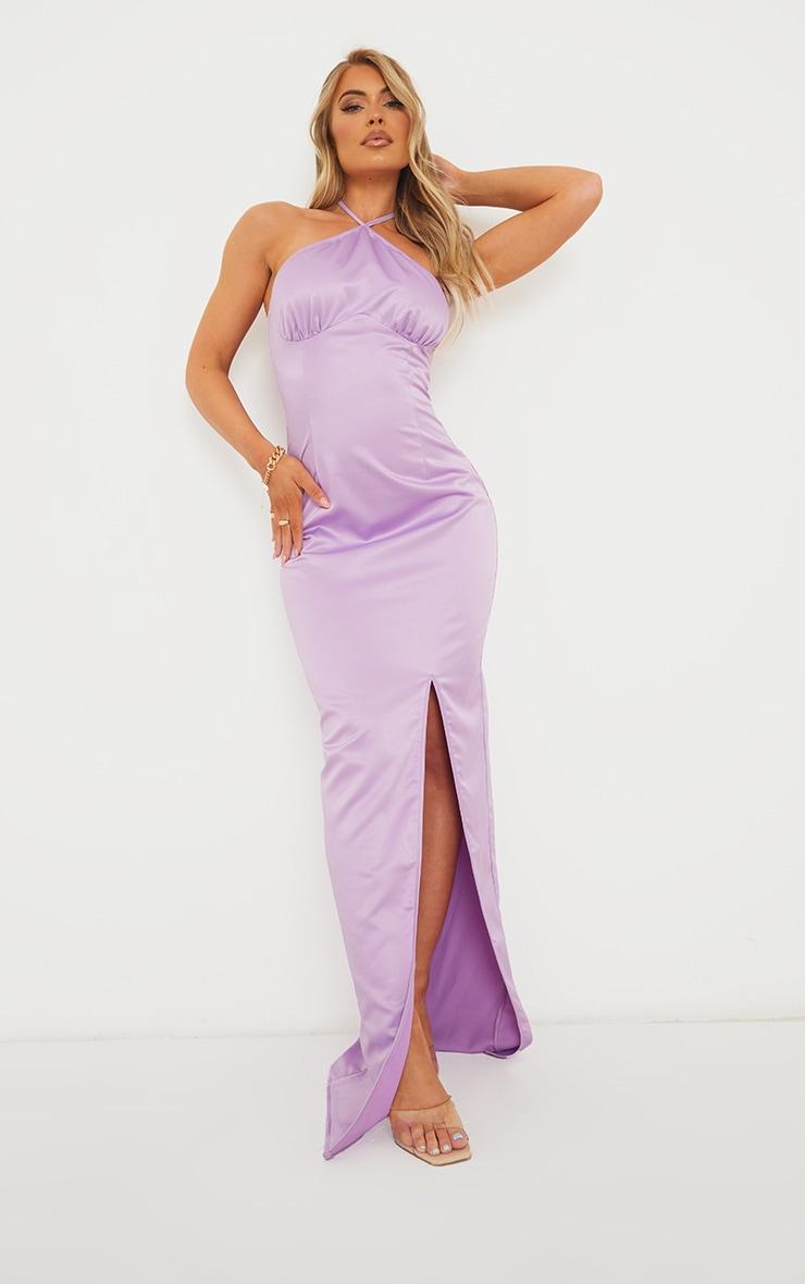Lilac Halterneck Underbust Seam Satin Maxi Dress 1