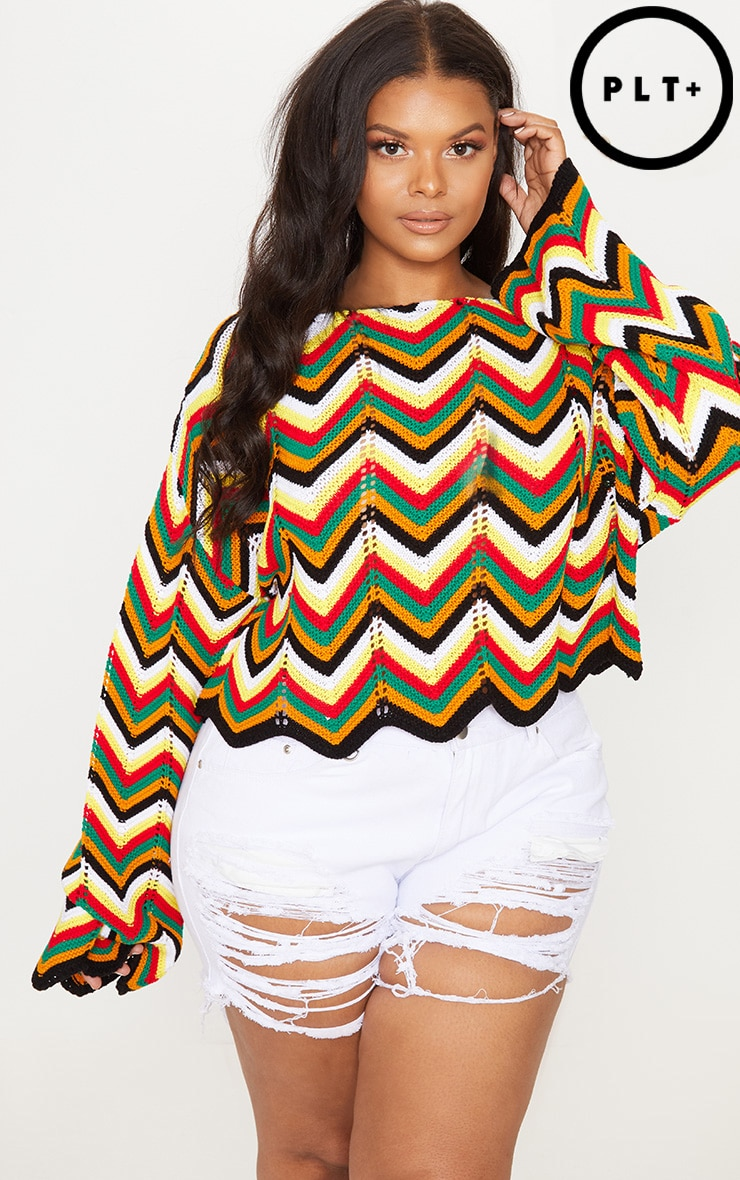 Plus Multi Zig Zag Crochet Jumper