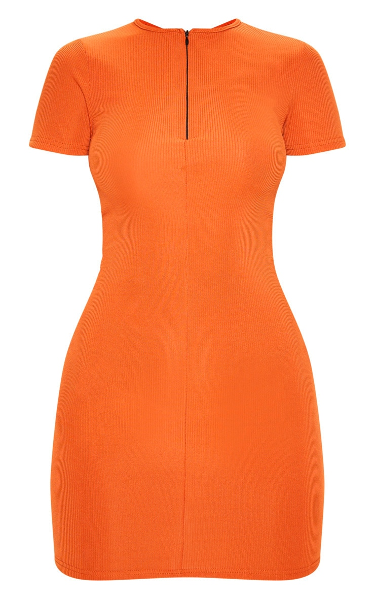 Rust Zip Front Ribbed Bodycon Dress 3