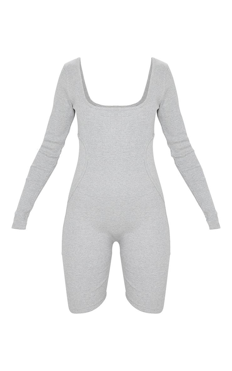 Grey Marl Thick Rib Binding Detail Long Sleeve Unitard 5