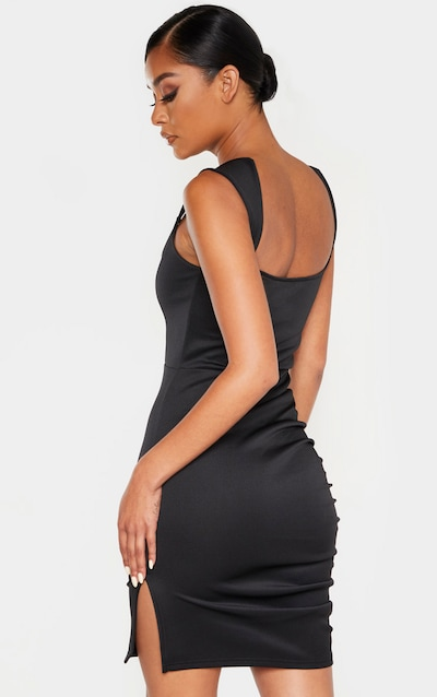 Black Structured Bodice Ruched Side Bodycon Dress