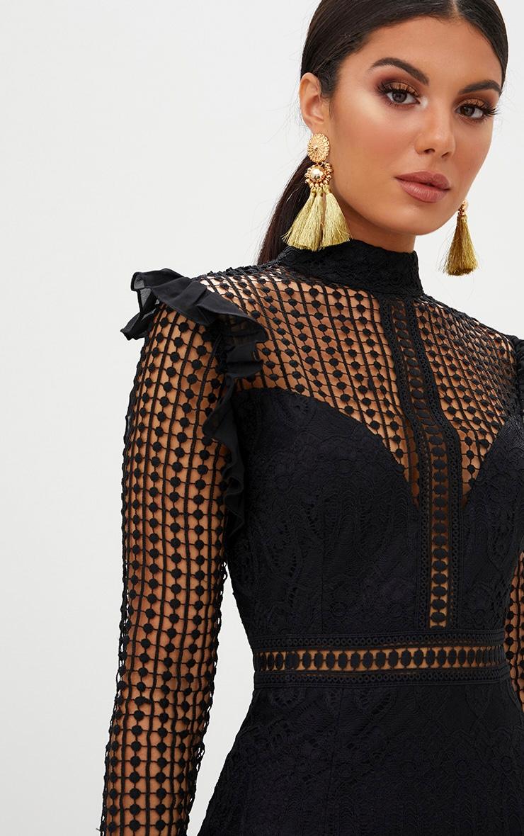 2d431a3cef3 Black Lace Chiffon Frill Detail Bodycon Dress image 5