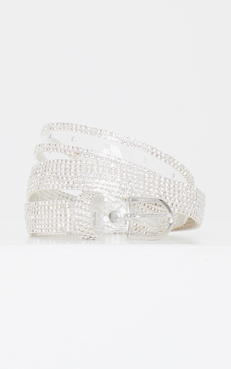 Clear PU Silver Studded Waist Belt 1
