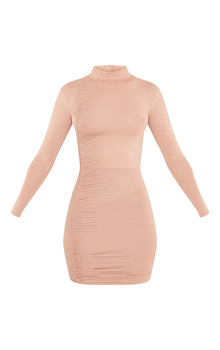 Moana Nude Ruched Detail Bodycon Dress 3