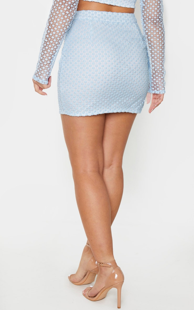 Dusty Blue Crochet Mini Skirt 3