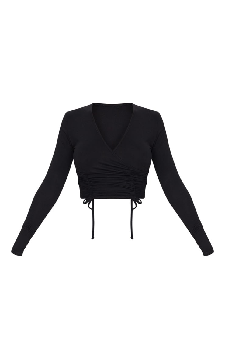 Black Ruched Wrap Front Long Sleeve Crop Top 5