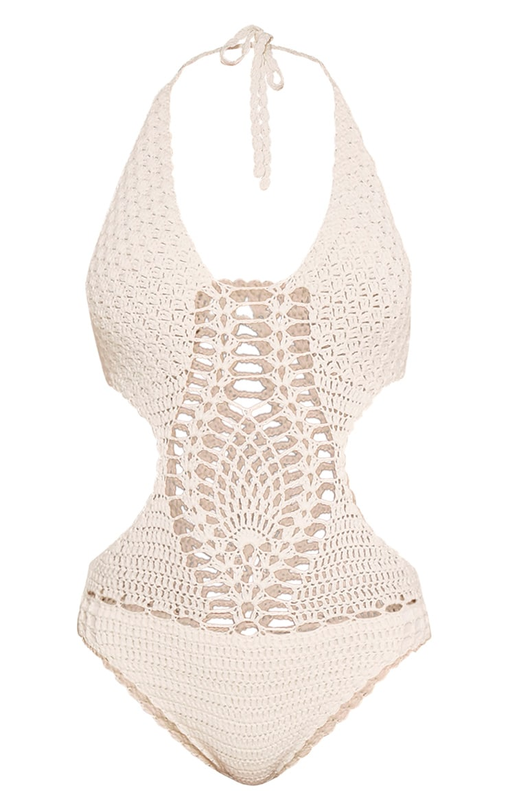 Aryah Cream Crochet Swimsuit 4