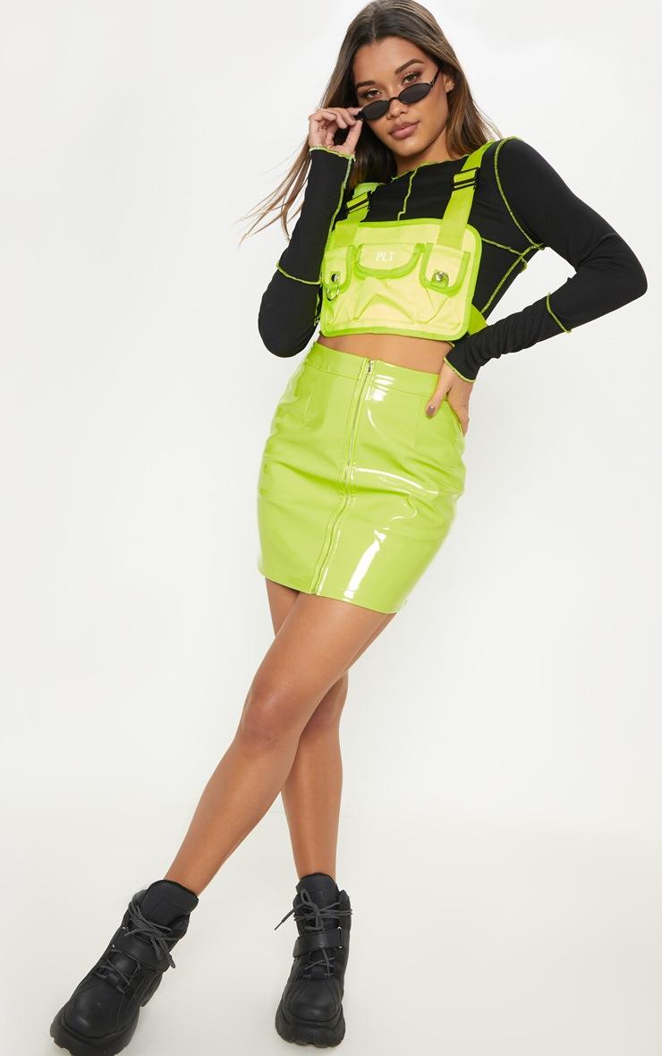 Neon Lime Vinyl Mini Skirt 5