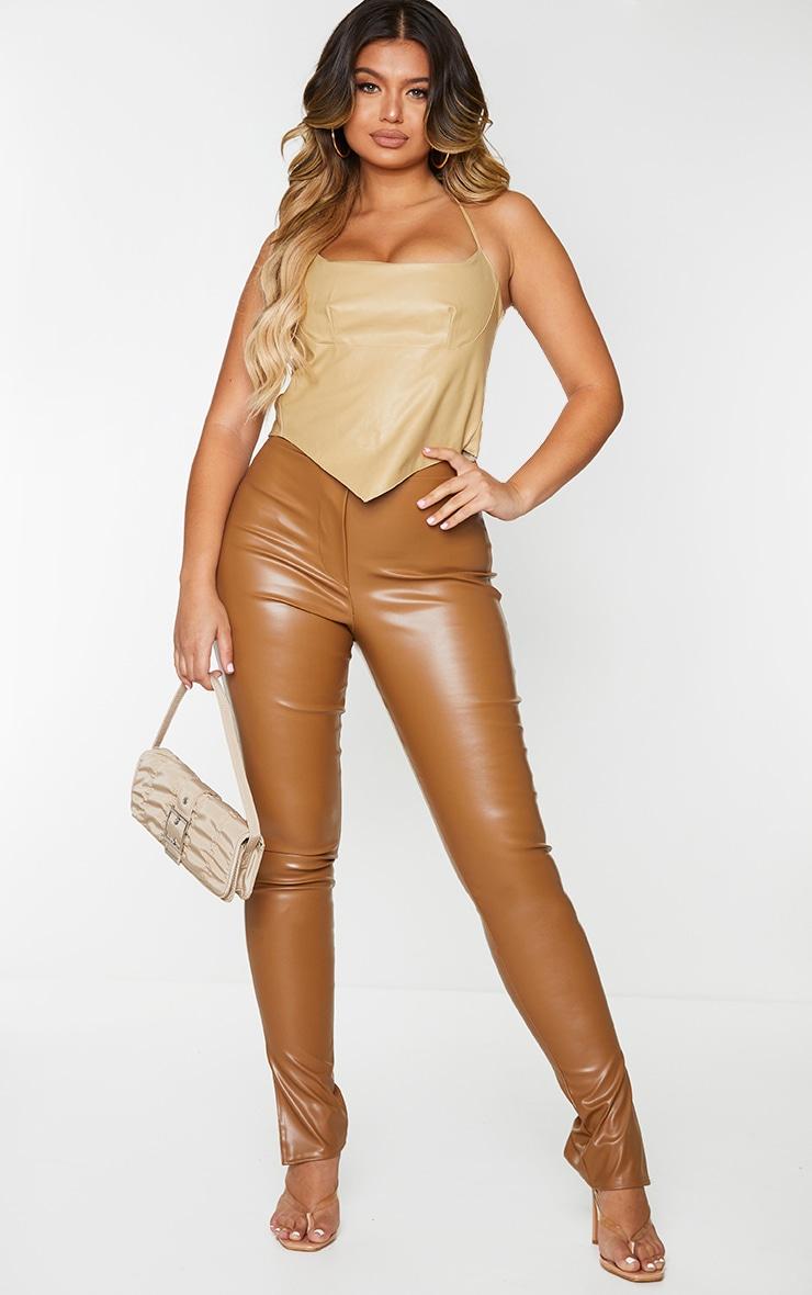 Tan Faux Leather Split Hem Skinny Trousers 1