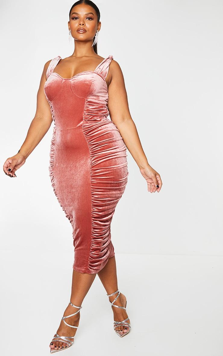 Plus Rose Velvet Extreme Ruched Side Detail Midi Dress 1