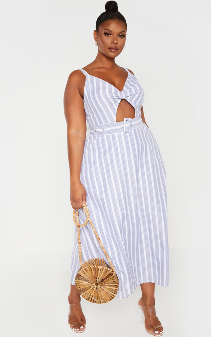 Plus Dusty Blue Striped Cut Out Belt Detail Midi Dress  1