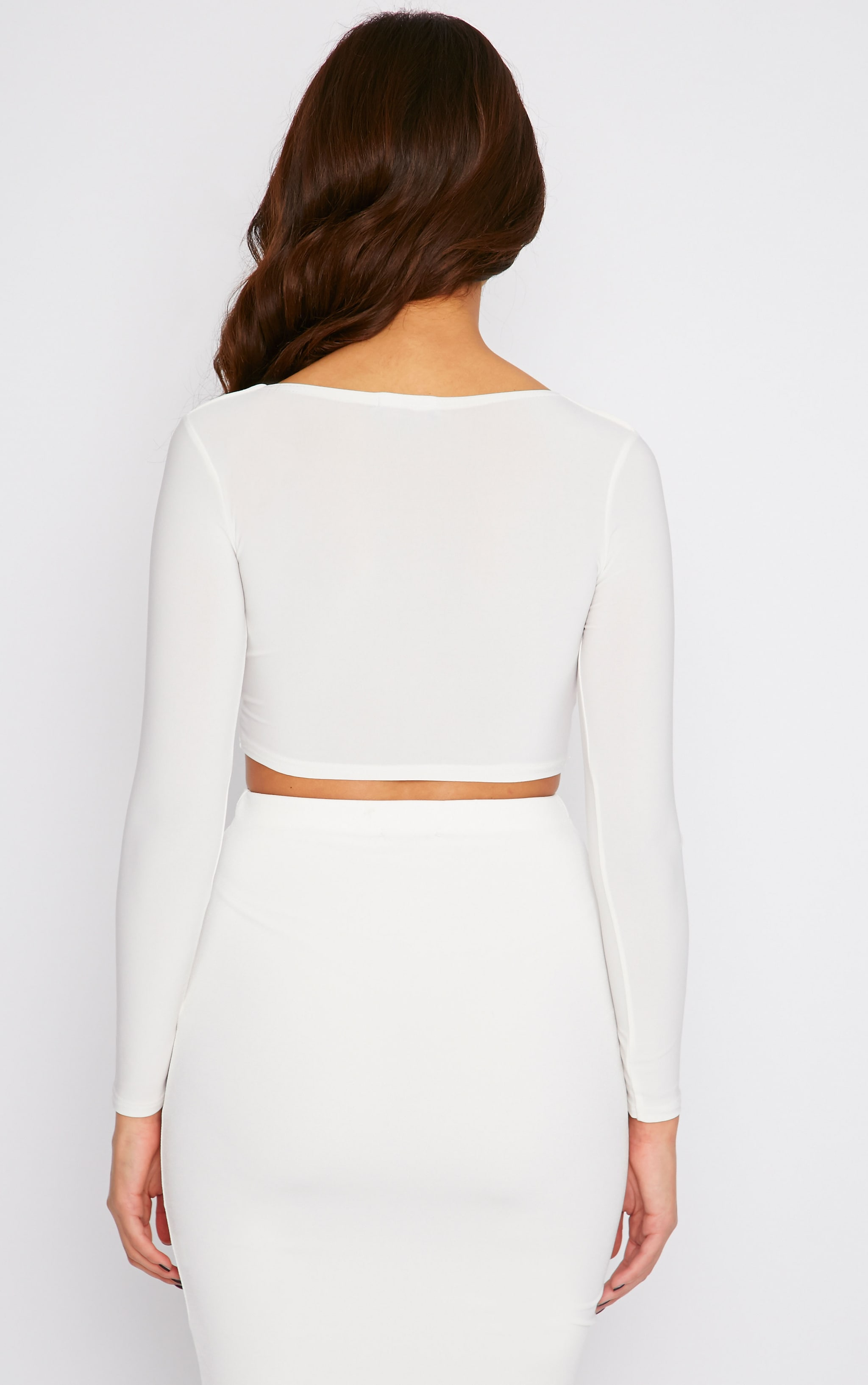 Bessie Cream Slinky Sweetheart Plunge Crop Top  2