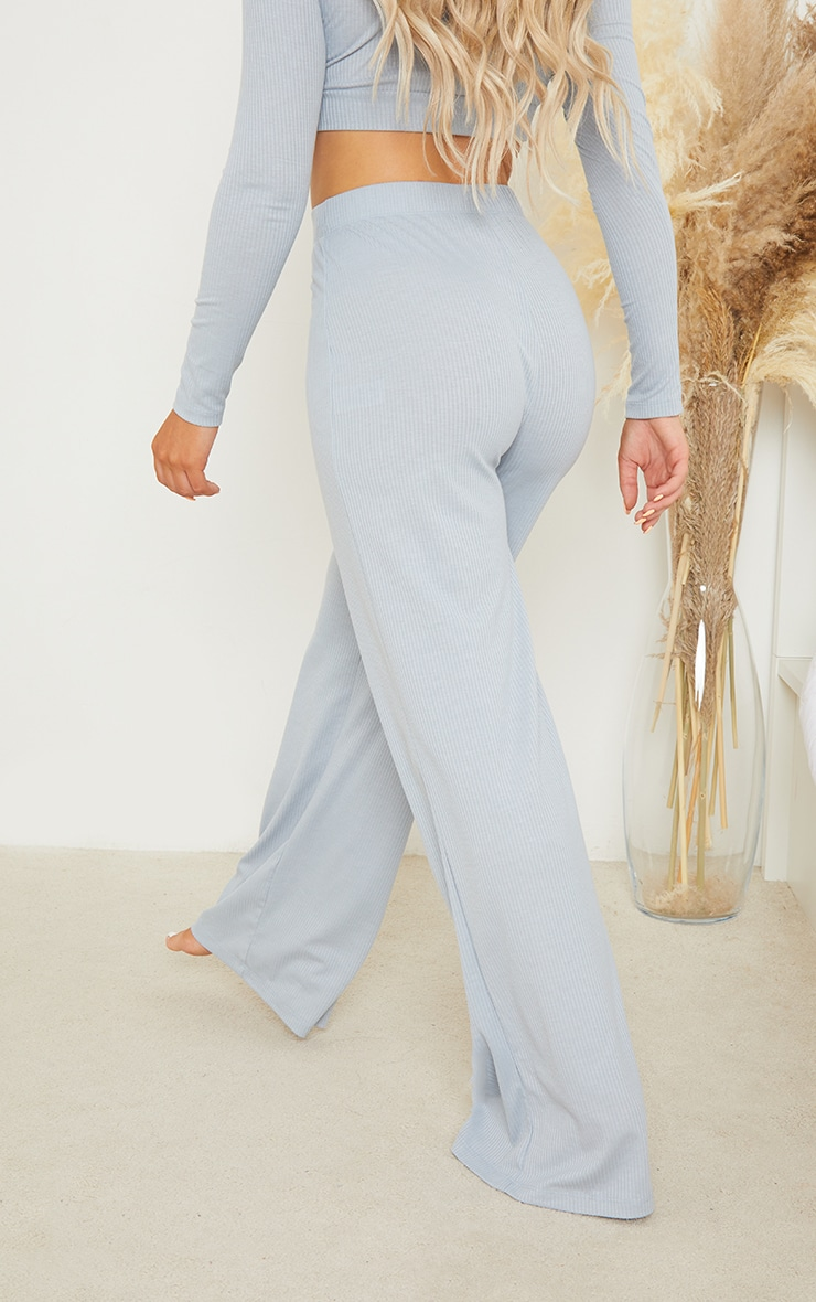 PRETTYLITTLETHING Dreams Baby Blue Badge Mix and Match Rib Wide Leg PJ Bottoms 3