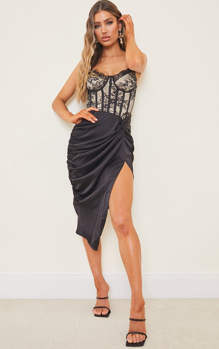 Black Strappy Lace Insert Satin Gathered Midi Dress 1
