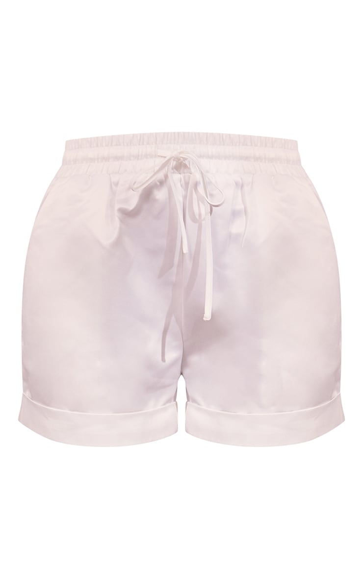 White Satin Turn Up Hem Floaty Shorts 6