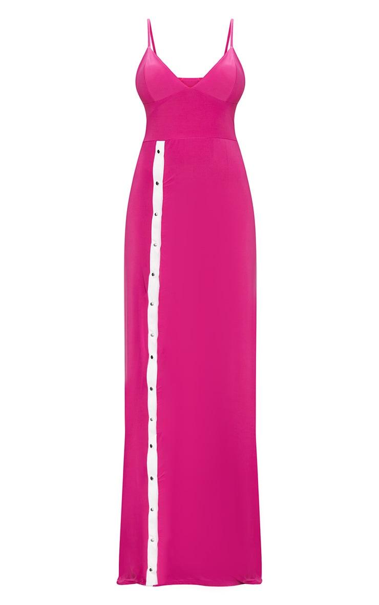 Fuchsia Plunge Popper Detail Extreme Split Maxi Dress  3