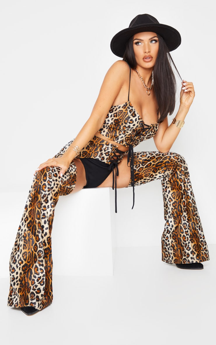 Brown Leopard Print Lace Up Front Woven Bralet 3