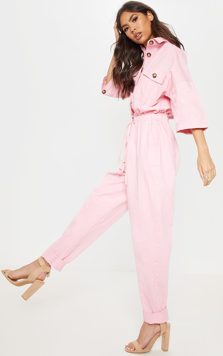 Pale Pink Tortoise Button Chambray Jumpsuit  4