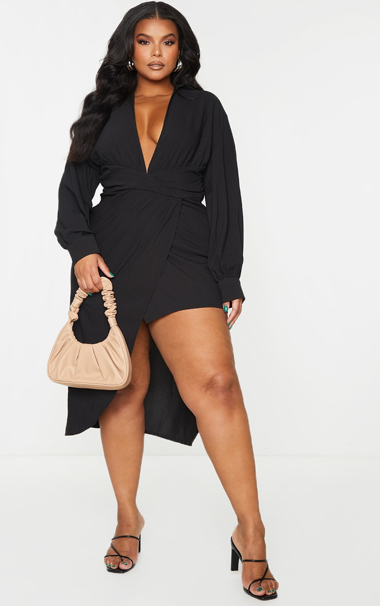 Plus Black Plunge Wrap Textured Dress 1